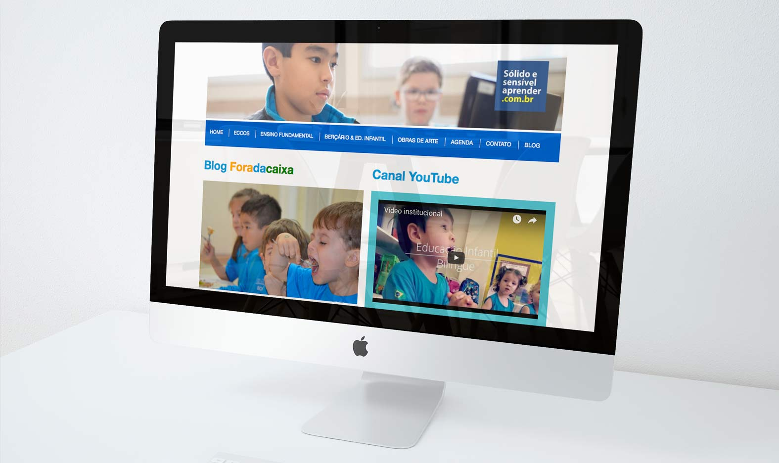 Website for School Colégio Eccos. Responsive layout from Photoshop to Wordpress; Website built using WordPress; HTML, CSS, MySQL; Domain Setup (Hosting, Emails, Database); Google Certificated - Mobile Friendly; Newsletter integration; Google Analytics, Search Console, Sitemap.